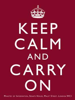 Keep Calm And Carry On Burgundy Metal Sign