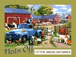 Hats Off to the American Farmer Vintage Metal Sign
