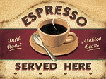 Espresso Served Here Vintage Metal Sign