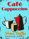 Cafe Cappuccino Vintage Metal Sign
