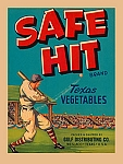 Safe Hit Brand Texas Vegetables Tin Sign