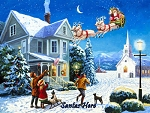 Santa's Here Holiday Metal Sign
