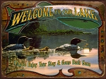 Welcome To Our Lake Vintage Metal Sign
