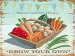 Grow Your Own Veggies Vintage Metal Sign