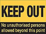 Keep Out No Unauthorised Persons Allowed Beyond This Point Tin Sign