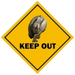 Rhino Crossing Metal Sign