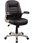 Ergonomic Silver Accent Padded Black Office Chair
