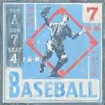 Baseball Player Vintage Tin Sign