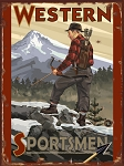 Western Sportsmen Bow Hunter Vintage Tin Sign
