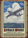 Spruce Goose Hercules HK-1 Airplane Vintage Tin Sign
