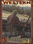Western Sportsmen Game Hunter Vintage Tin Sign