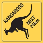 Kangaroo Crossing Next 25km Metal Sign