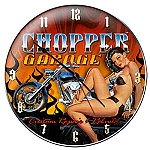 Choppers Garage Metal Clock
