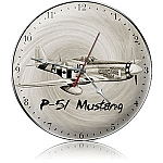 P-51 Black And White Metal Clock