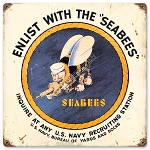 U.S. Navy Sea Bees Vintage Metal Sign