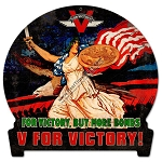 V for Victory Vintage Metal Sign