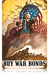 Uncle Sam's Buy War Bonds Vintage Metal Sign