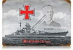 Battleship Bismarck Vintage Metal Sign