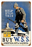 Buy War Savings Stamps Vintage Metal Sign