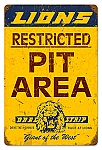 Lions Drag Strip Pit Area Vintage Metal Sign