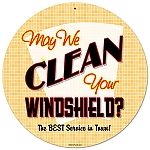 Clean Your Windshield Vintage Metal Sign