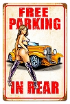 Free Hot Rod Parking Vintage Metal Sign