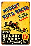 Midget Auto Races Vintage Metal Sign