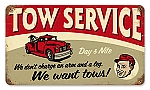 Tow Service Vintage Metal Sign