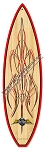 Von Hot Rod Wood Pinstripe Surfboard Metal Sign