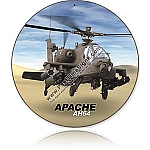 Apache AH64 Helicopter Round Metal Sign