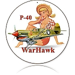 P-40 Warhawk Round Metal Sign