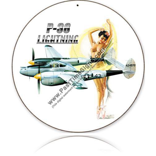 P-38 Lightning Nude Round Metal Sign