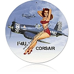 FU4 Navy Corsair Pinup Vintage Metal Sign