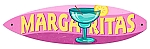 Margaritas Surfboard Metal Sign