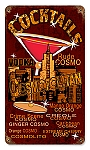 Cosmo Cocktails Vintage Metal Sign