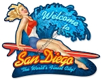 San Diego Surf Girl Metal Sign