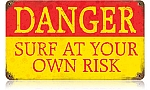 Danger Surf Vintage Metal Sign