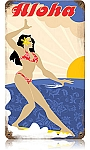 Aloha Surfer Vintage Metal Sign