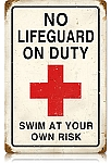 No Lifeguard Vintage Metal Sign