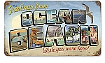 Ocean Beach Postcard Vintage Metal Sign