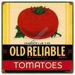 Old Reliable Tomatoes Vintage Metal Sign