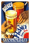 Beers of France Vintage Metal Sign