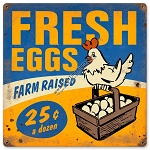 Farm Fresh Eggs Vintage Metal Sign