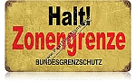 Halt Border Zone Vintage Metal Sign