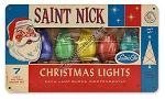 Saint Nick Christmas Lights Vintage Metal Sign