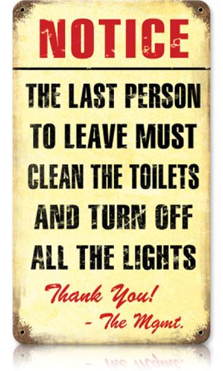 Clean Bathroom Vintage Metal Sign