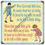 God Made Boys & Girls Vintage Metal Sign