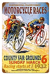 Motorcycle Races Vintage Metal Sign