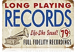 LP Records Vintage Metal Sign