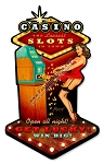 Casino Pinup Girl Vintage Metal Sign